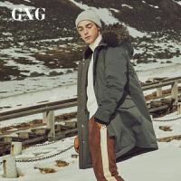 GXG羽�q服男�b 冬季新品潮流舒�m灰色貉毛�B帽中�L款羽�q服外套男