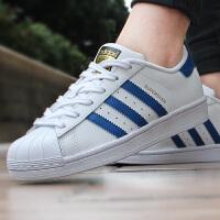 ADIDAS 阿迪达斯三叶草Superstar蓝白金标贝壳头板鞋休闲鞋S74944