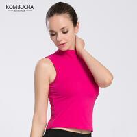 【女神特惠价】Kombucha瑜伽健身背心女士速干透气露脐紧身背心跑步健身运动背心内置胸垫K0124