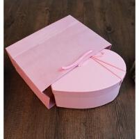韩式情人节爱心礼盒桃心形节日生日礼品盒口红巧克力包装盒子 +纯粉纸袋+粉碎纸