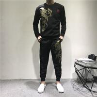 运动套装男士秋冬新品中国风刺绣荷花休闲套装青年小伙修身二件套 黑色
