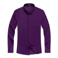 秋款竹纤维商务衬衣长袖男式时尚男装衬衫男衬衫上装 紫色