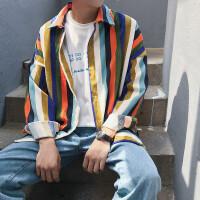 春秋季宽松长袖衬衣青少年学生帅气个性男装条纹衬衫潮流