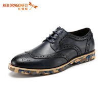 红蜻蜓2018英伦男士尖头真皮鞋韩版时尚潮流鞋系带男款休闲鞋子潮流