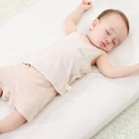 婴儿背心短裤套装夏季可开裆彩棉薄款新生宝宝内衣套装