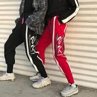 2018潮流春季新品条纹裤子男士卫裤情侣装日系运动裤休闲裤长裤