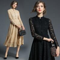 秋冬新款修身显瘦长裙立领长袖收腰大摆打底黑色蕾丝连衣裙