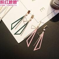 韩国个性三角形几何耳环耳钉女气质长款耳坠简约百搭夸张潮人耳