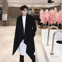 新款秋冬装个性不规则中长款纯色呢大衣男潮流青年夜店发型师毛呢