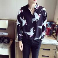 2017夏季新款韩版薄款雪纺立领套头衬衫男夜店时尚仙鹤长袖衬衣潮