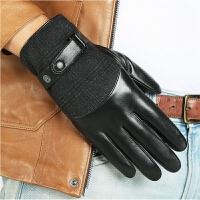 手套男士冬季保暖开车触控屏羊皮手套