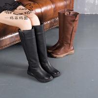 玛菲玛图保暖加绒女靴子复古中跟长靴欧美英伦骑士靴厚底高筒靴女009-31D