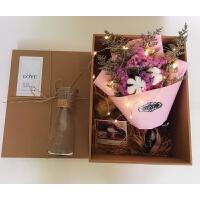INS满天星干花花束礼盒创意礼品三八妇女节送员工女生生日礼物礼品 D款 大束配花瓶 加灯 干花包