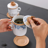 创意马克杯陶瓷带盖过滤茶杯简约办公室家用喝水泡茶杯子个人
