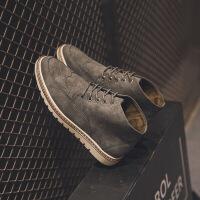 DAZED CONFUSED秋冬英伦男鞋男式做旧反绒布洛克高帮休闲软底皮鞋