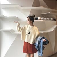 韩版短款卡通印花套头卫衣女春季宽松潮学生长袖上衣外套