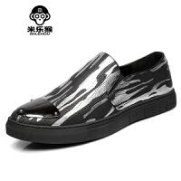 米乐猴 潮牌韩版个性潮流休闲男鞋青年一脚蹬懒人鞋英伦发型师皮鞋百搭男鞋
