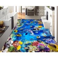 创新3D地毯客厅沙发茶几地毯卧室床边毯儿童地毯厨房浴室地垫门垫 深蓝色 两只海豚