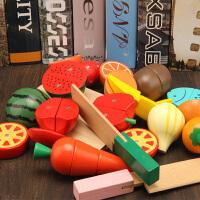 儿童玩具桶装男女孩宝宝过家家厨房切切看木制水果蔬菜磁性切切乐