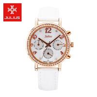2018聚利时Julius新款简约时尚真皮表带三眼日历女士石英手表