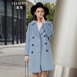 海贝2017冬季新款女装外套纯色西装领双排扣中长款羊毛呢大衣百搭