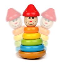 儿童木制彩虹塔叠叠乐宝宝七彩层层套圈玩具不倒翁0-1-3-6岁玩具