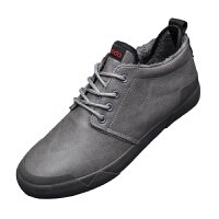 冬季新款男棉鞋皮面厚底保暖休闲鞋日常高帮板鞋时尚青春潮流男鞋