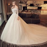 一字肩婚纱礼服2018新款韩式新娘结婚大码显瘦长拖尾齐地公主2018