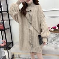 孕妇毛衣女秋冬季韩版宽松长袖高领针织衫花边外套孕妇装上衣