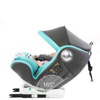 汽车儿童安全座椅isofix硬接口0-12岁360度旋转可躺j13 天使蓝 ISOFIX/LATCH双接口版本