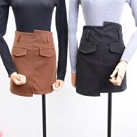 FSK#22秋冬季新款高腰侧拉链不规则显瘦包臀半身裙