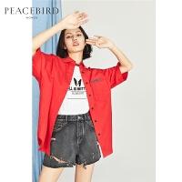 红色衬衫女短袖2018夏装新款廓形衬衣宽松透气纯色韩版太平鸟