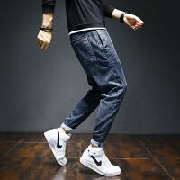 Lee Cooper【橡筋系带裤】弹力复古猫须哈伦男休闲小直筒牛仔裤 LCJSG9006