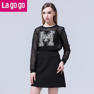 lagogo2016年黑色印花长袖网纱镂空连衣裙高腰女短裙短款套装秋