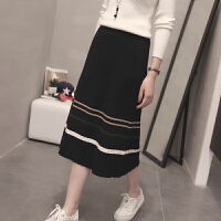 高腰针织半身裙子女韩版秋冬中长款显瘦包臀裙条纹一步裙毛线裙潮