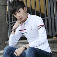 春季男士衬衫韩版纯色白衬衣长袖青少年流行男装帅气休闲寸衫