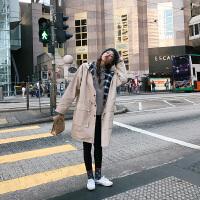秋冬新款韩版女装时尚百搭宽松连帽收腰风衣女中长款两面穿外套