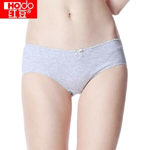红豆内裤女士内裤3条纯棉印花中腰舒适清新透气性感少女三角裤