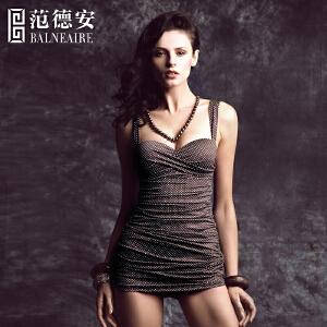 范德安保守遮肚连体裙式泳衣女 聚拢修身显瘦