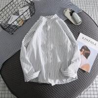 2018新款港风条纹白衬衫男士衬衣长袖休闲宽松外套男寸衫韩版潮流