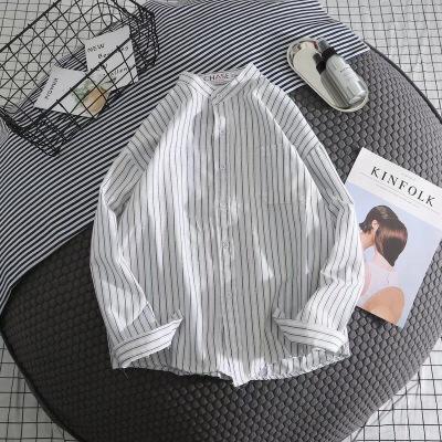 2018新款港风条纹白衬衫男士衬衣长袖休闲宽松外套男寸衫韩版潮流 发货周期:一般在付款后2-90天左右发货,具体发货时间请以与客服协商的时间为准
