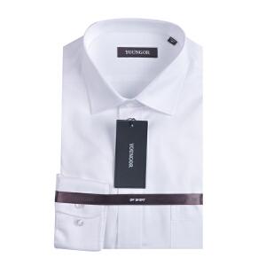 youngor/雅戈尔  男士商务白色纯棉免熨长袖衬衣 DP14736