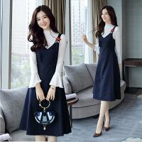 秋新款韩版背带裙中长款无袖背带两件套连衣裙