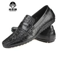 米乐猴 潮牌新款流行男鞋鳄鱼纹套脚皮鞋舒适耐磨正装皮鞋男男鞋
