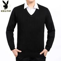 羊毛衫中年鸡心领针织衫商务男士纯色V领毛衣打底衫加厚