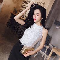 黑白拼色连衣裙夏季新款蕾丝钩花优雅气质长款裙子礼服裙子女潮