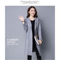 秋冬新款韩版大码宽松针织女连帽大衣羊毛羊绒中长款显瘦开衫外套