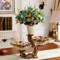 20180621132811998奢华花瓶摆件欧式客厅插花干花瓶复古创意家居个性餐桌装饰品摆设 白色 配6束花