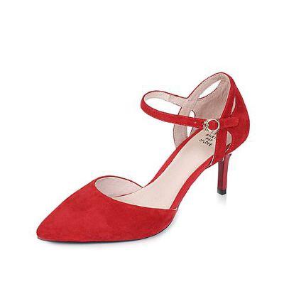 Tata/他她2017年夏季羊皮玛丽珍时尚尖头一字扣带女皮凉鞋FD201BK7