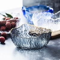 金边透明玻璃碗家用蔬菜沙拉碗大号水果碗甜品碗异形茶洗